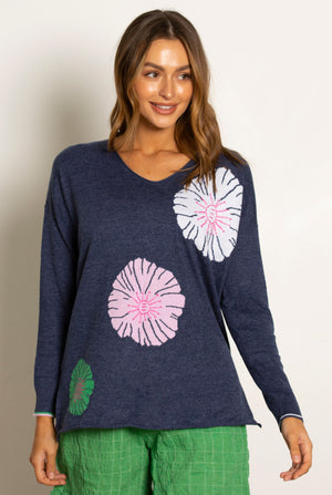 Silk Floral Applique Sweater