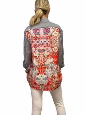 Silk Print Back Shirt