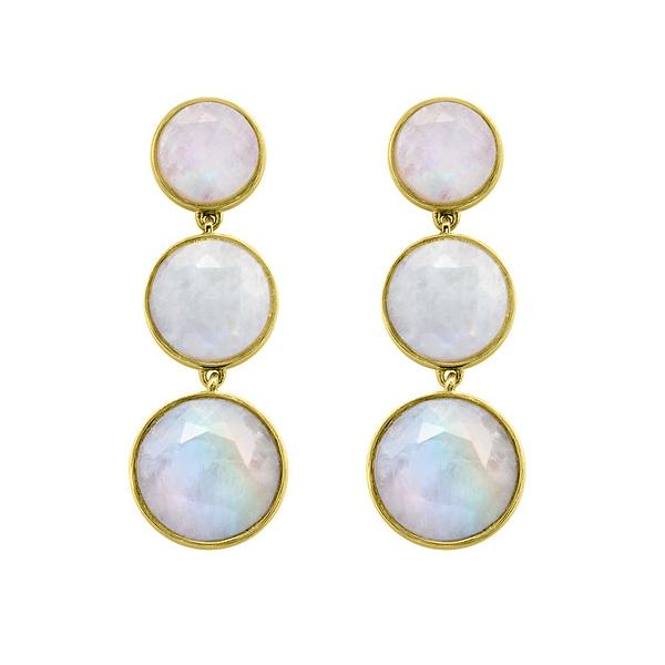 SIGNATURE TRIPLE DROP EARRINGS IN GOLD & RAINBOW MOONSTONE