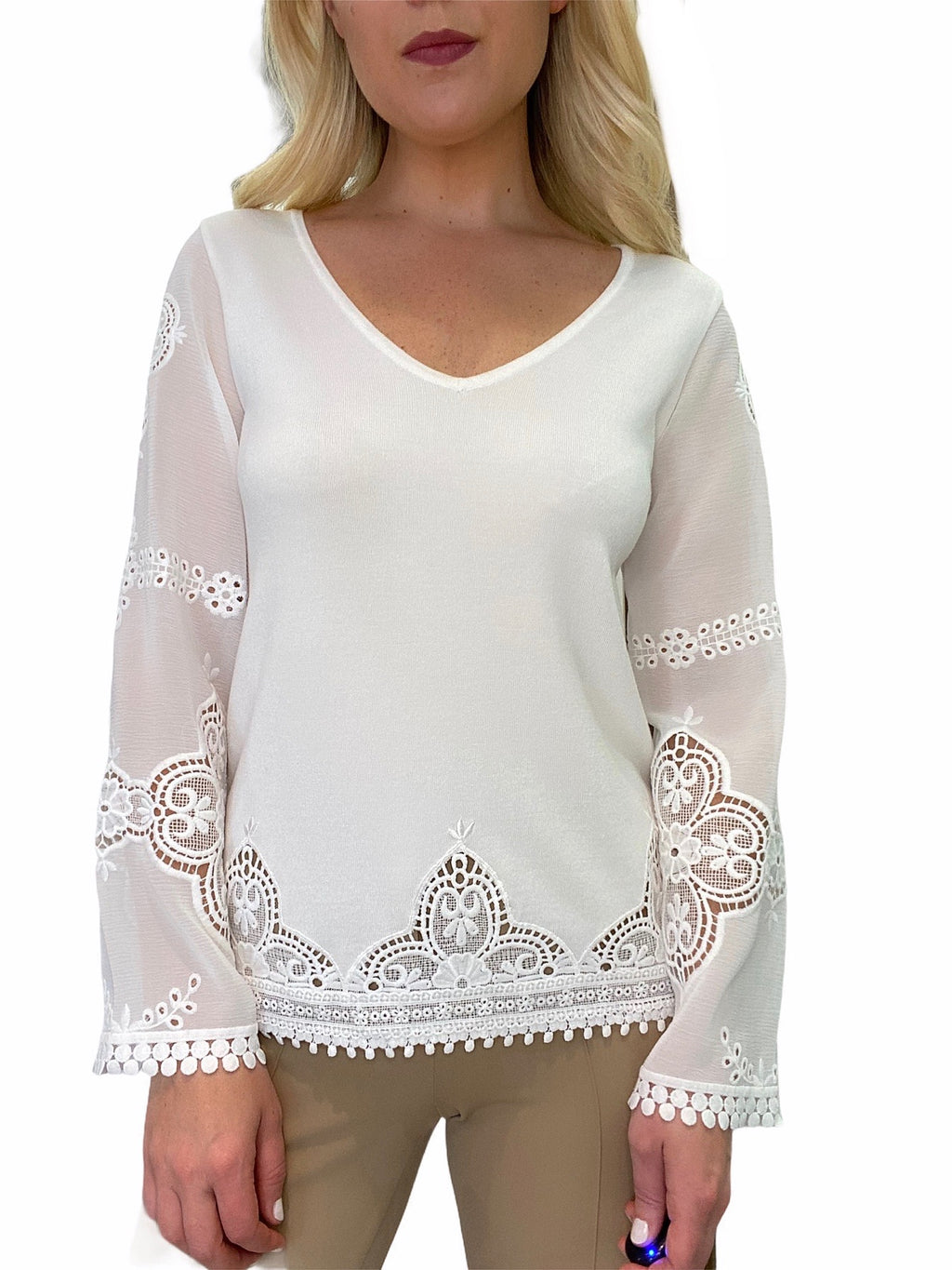 Lace Sleeve V-Neck Sweater
