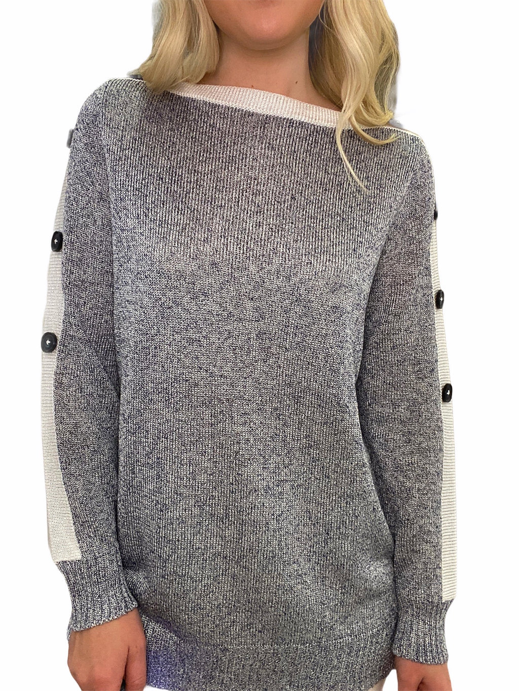 Hand-Loomed Sweater with Button Sleeve