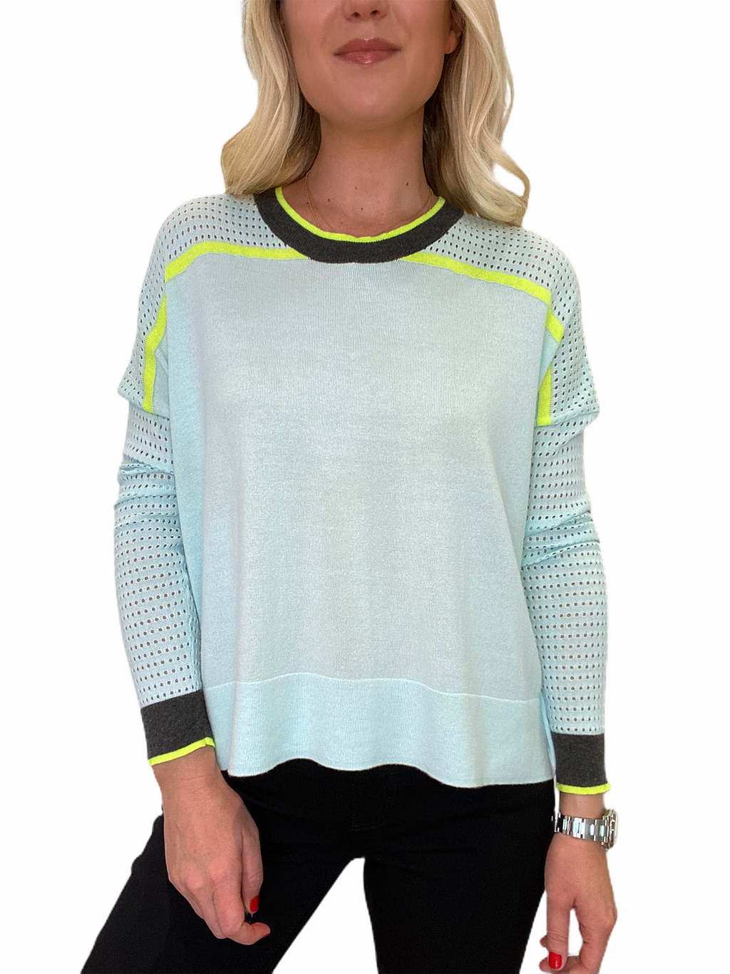 Mesh Contrast Sweater