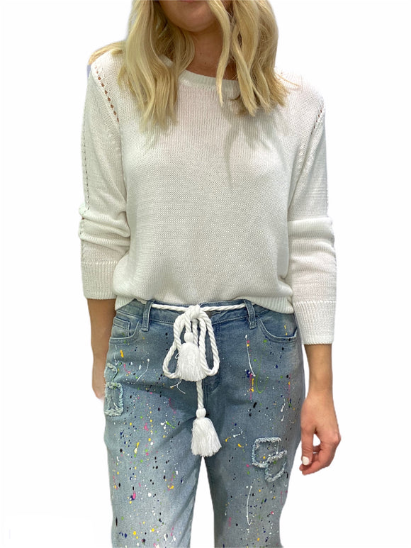 Autumn Cashmere Loose Cropped Cotton Crew Sweater