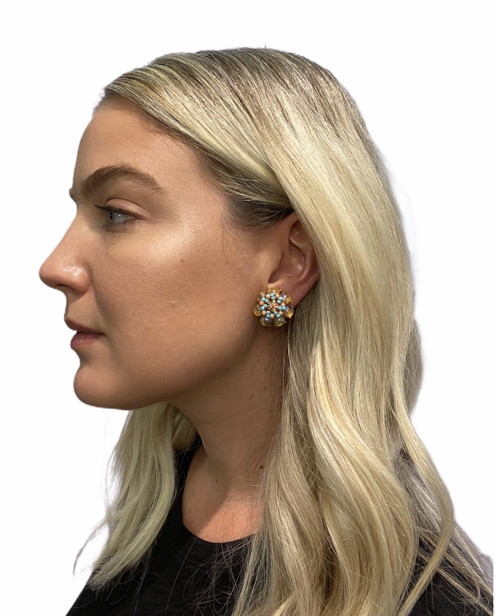 Pink Floral Earring (Clip)