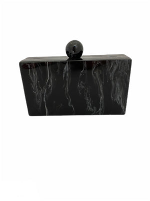 Black Marble Acrylic Clutch