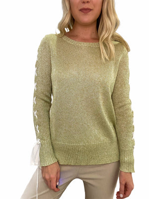Hand-Loomed Sweater with Lace Up Sleeve