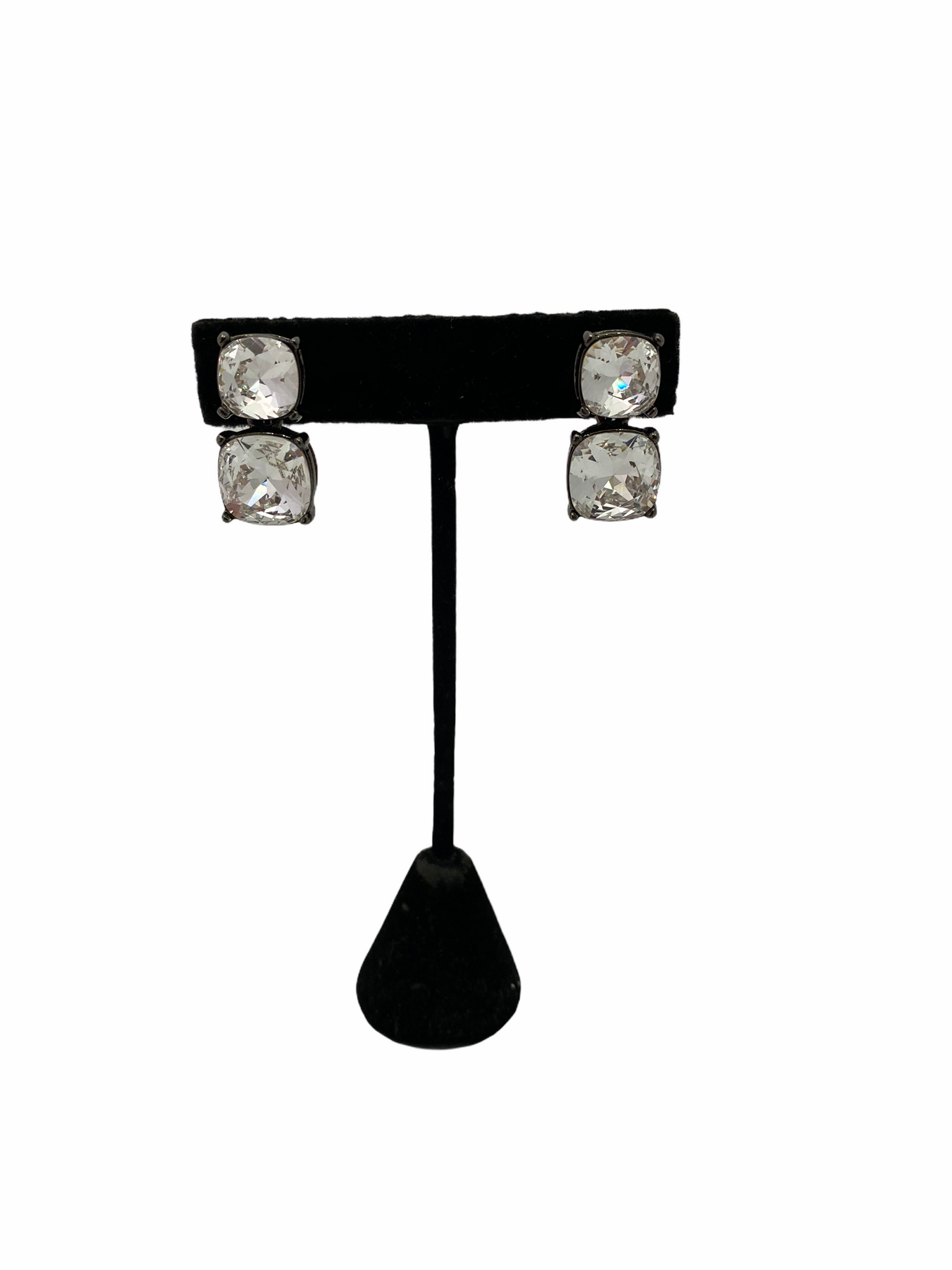 Crystal Square Stone Drop Earring (CLIP)