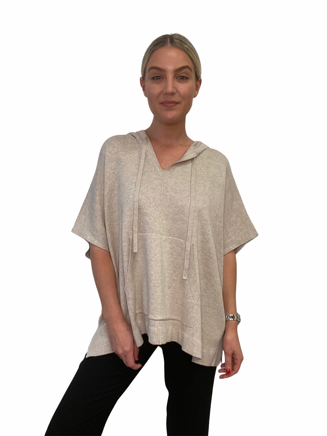 HOODED COTTON BLEND PONCHO