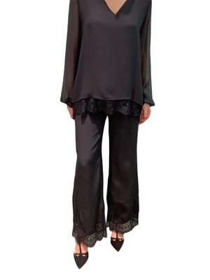 Lace Trim Silk Pant
