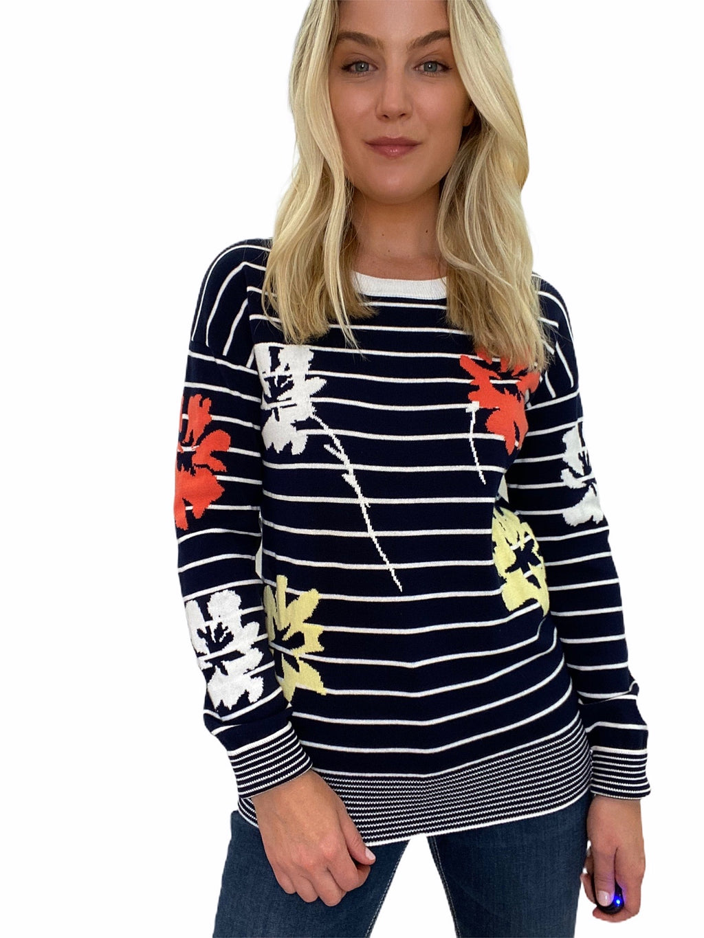 Stripe Sweater with Flowers