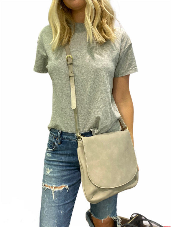 Stone Grey Large Suede Crossbody Bag