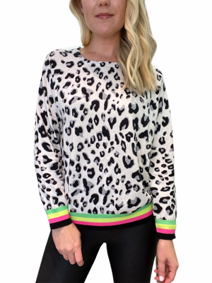 Leopard Sweater with Neon Trim