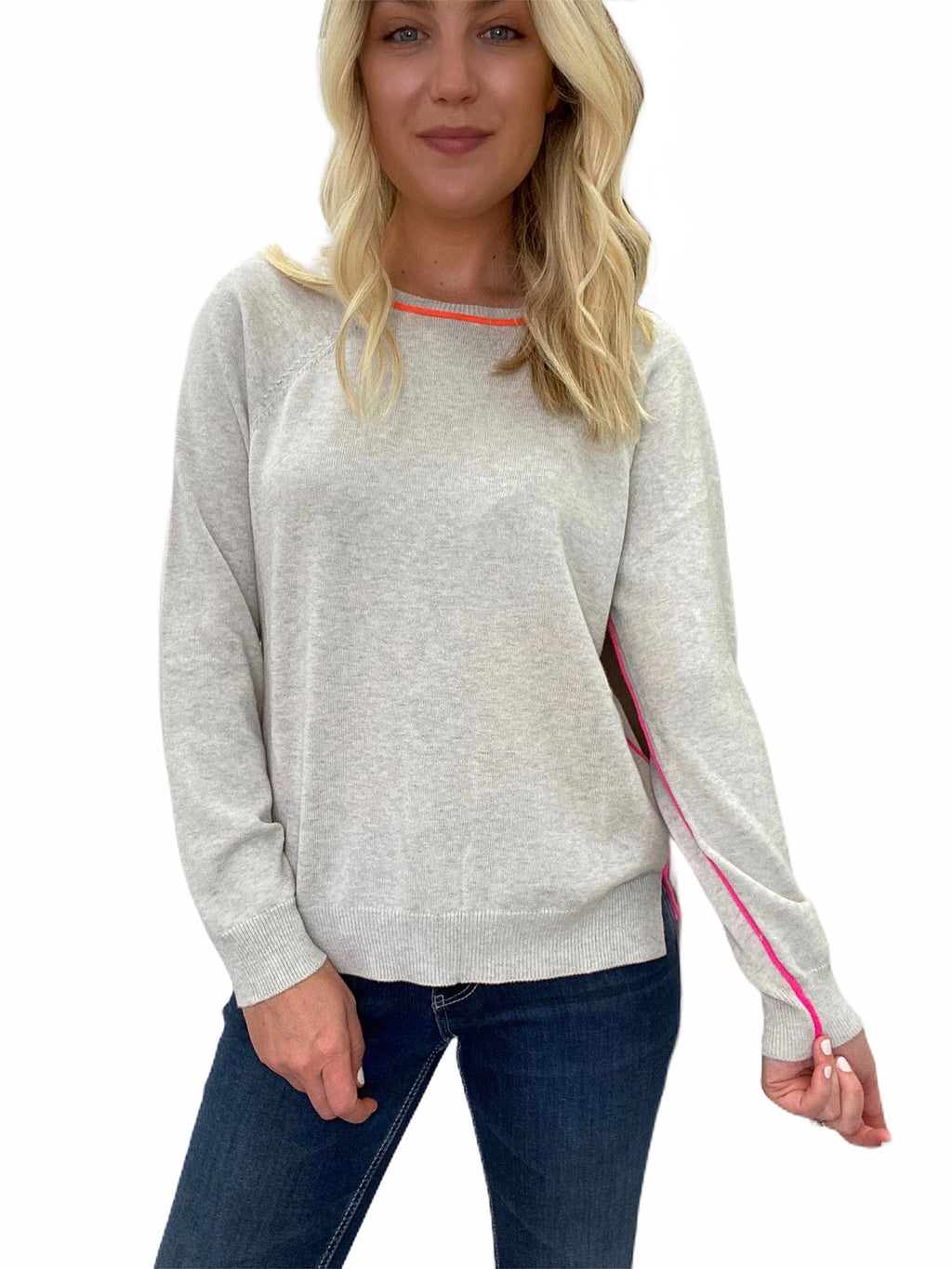 Light Grey Sweater with Neon Trim