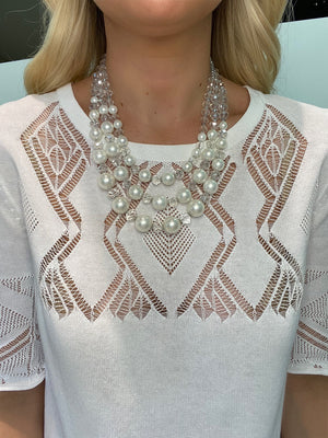 Pearl and Crystal Short Necklace