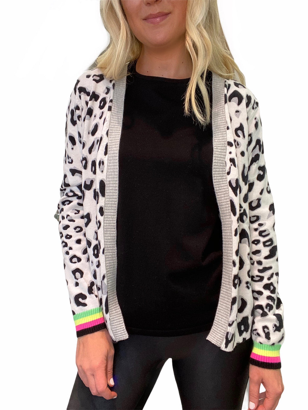 Leopard Cardigan with Neon Trim