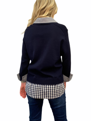 Navy Check Layered Pull Over Sweater