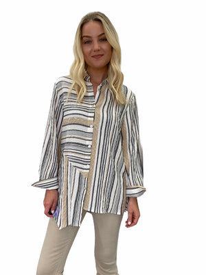 Crinkle Stripe Long Shirt