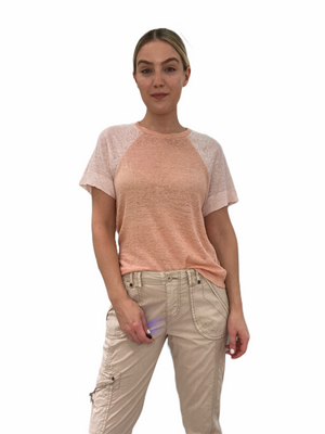Linen Color Block T-Shirt