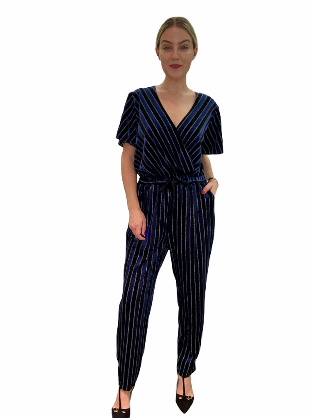 Striped Metallic Velvet Jumpsuit