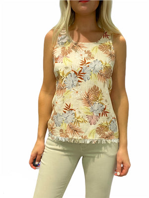 French Linen Floral Top
