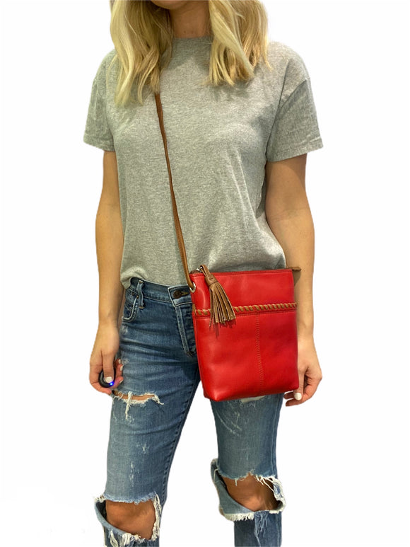 Red & Brown Whipstitch Crossbody Bag