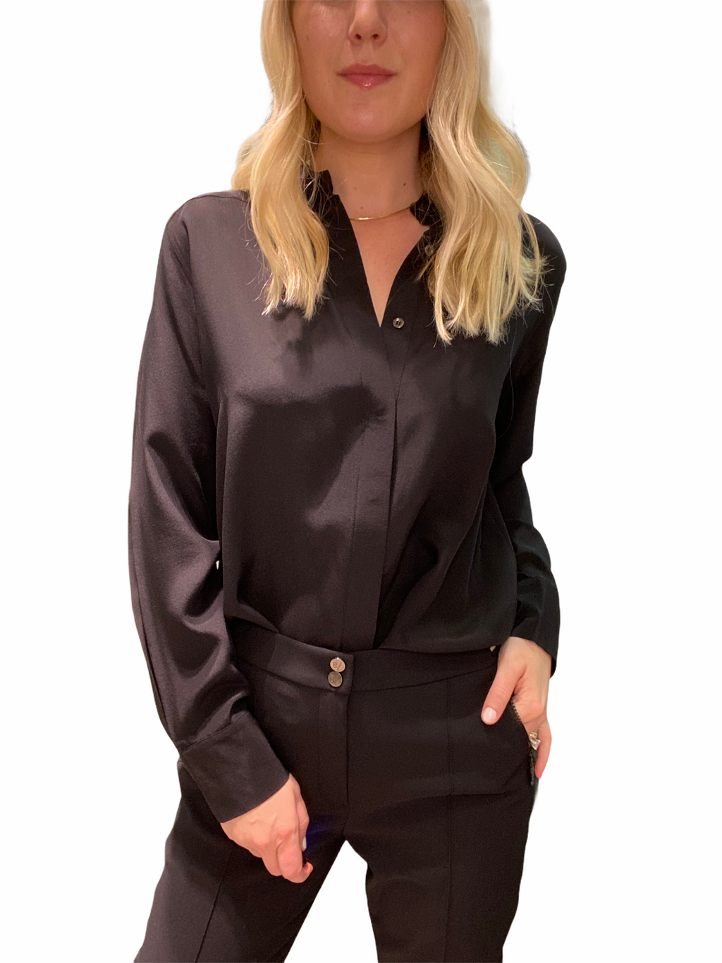 Black Silk Button Down