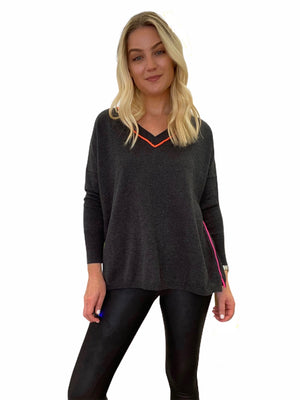 Grey V-Neck Sweater with Neon Stitching