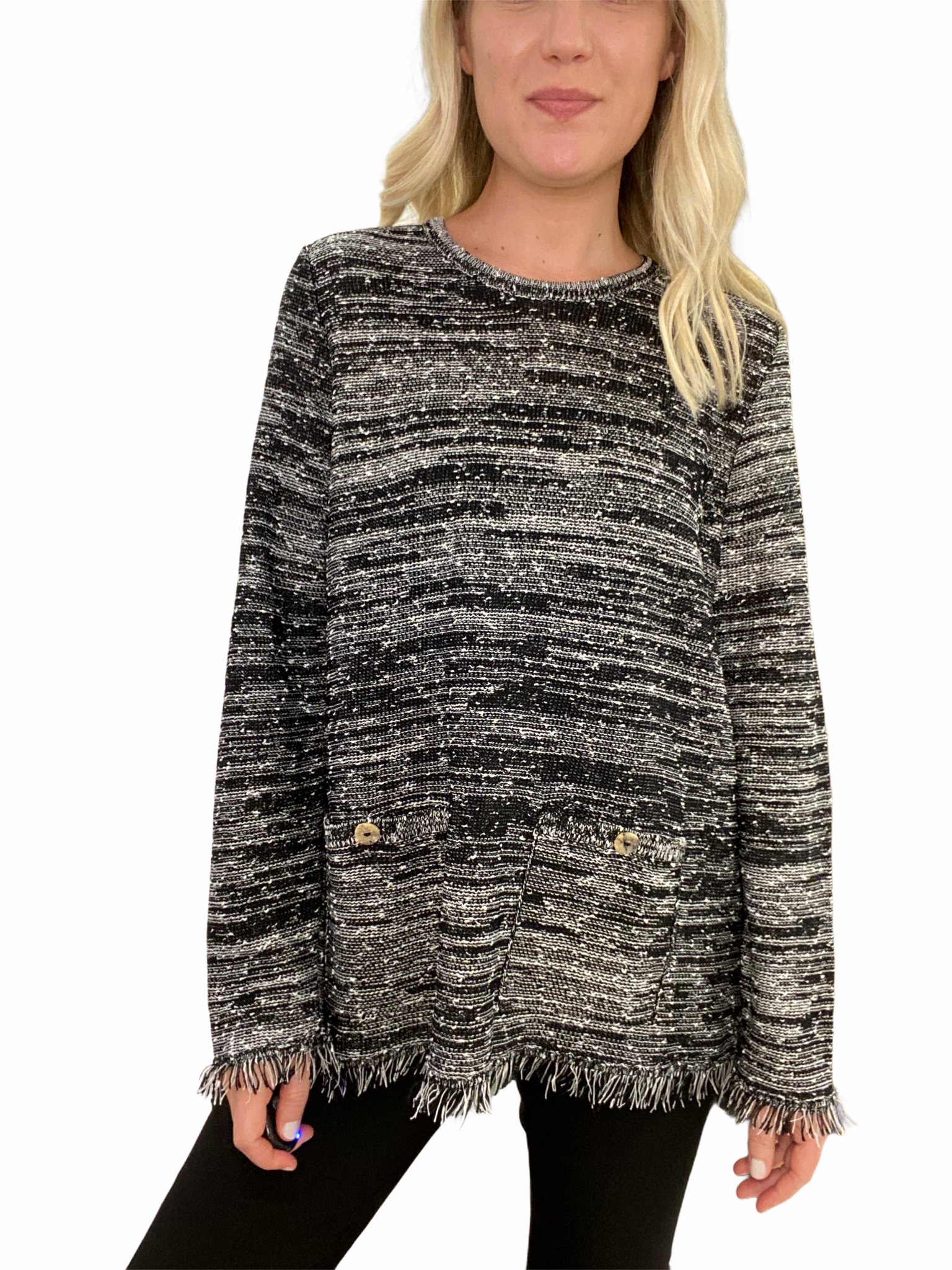 Hand-Loomed Fringe Sweater