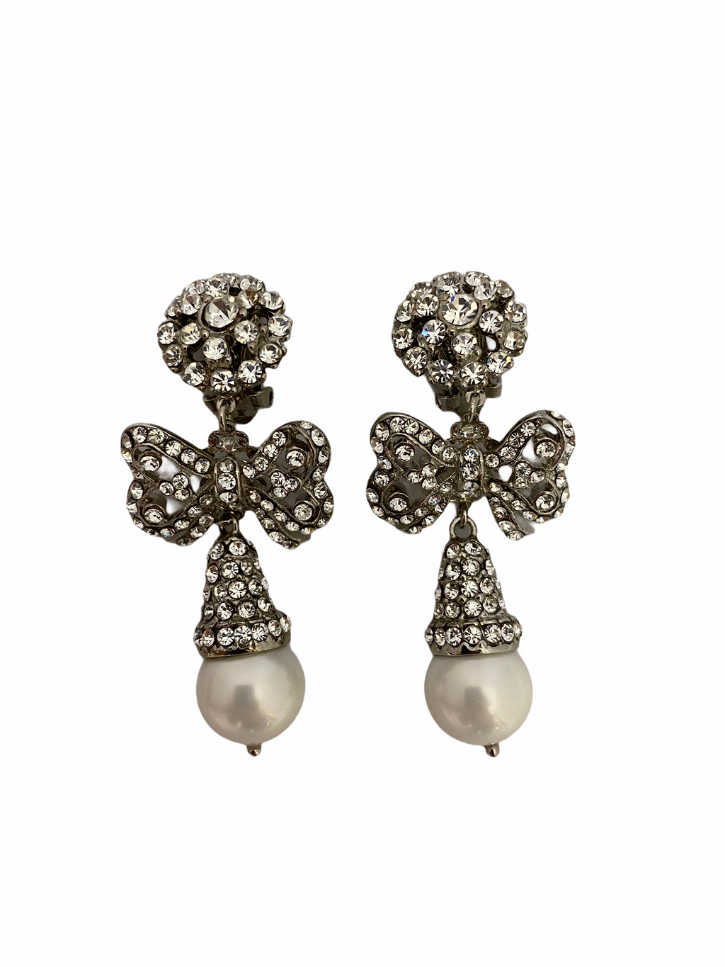 Drop Earring with Bow and Pearl (CLIP)