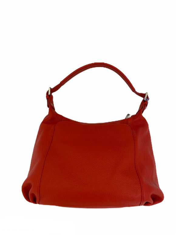 Bevini Modena Red Leather Hobo Bag