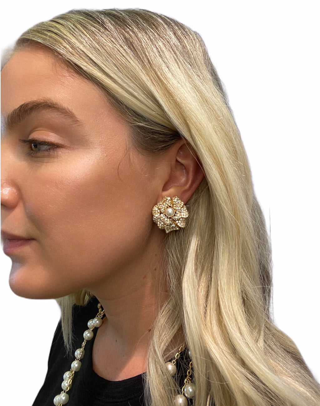 Gold Flower Earring (Clip)