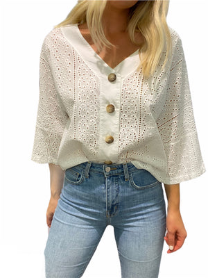 Eyelet Button Top