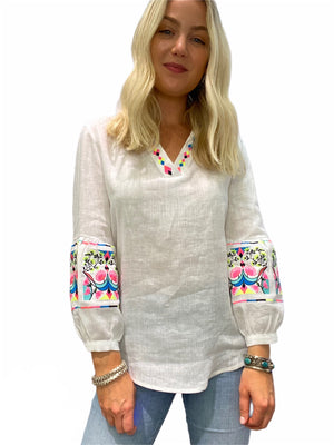 Vivianne Linen Embroidered Blouse