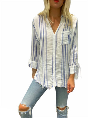 Long Sleeve Stripe Gauze Shirt with Pocket