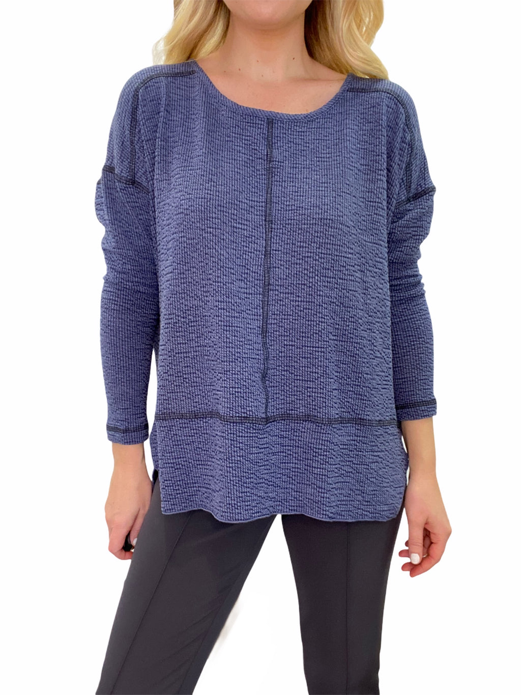 Knit Top with Contrast Stitch