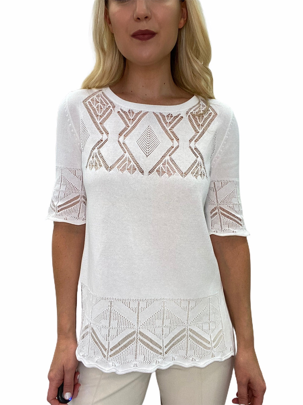 Crochet Lace Short Sleeve Sweater Top
