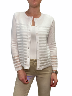White Sheer Stripe Cardigan