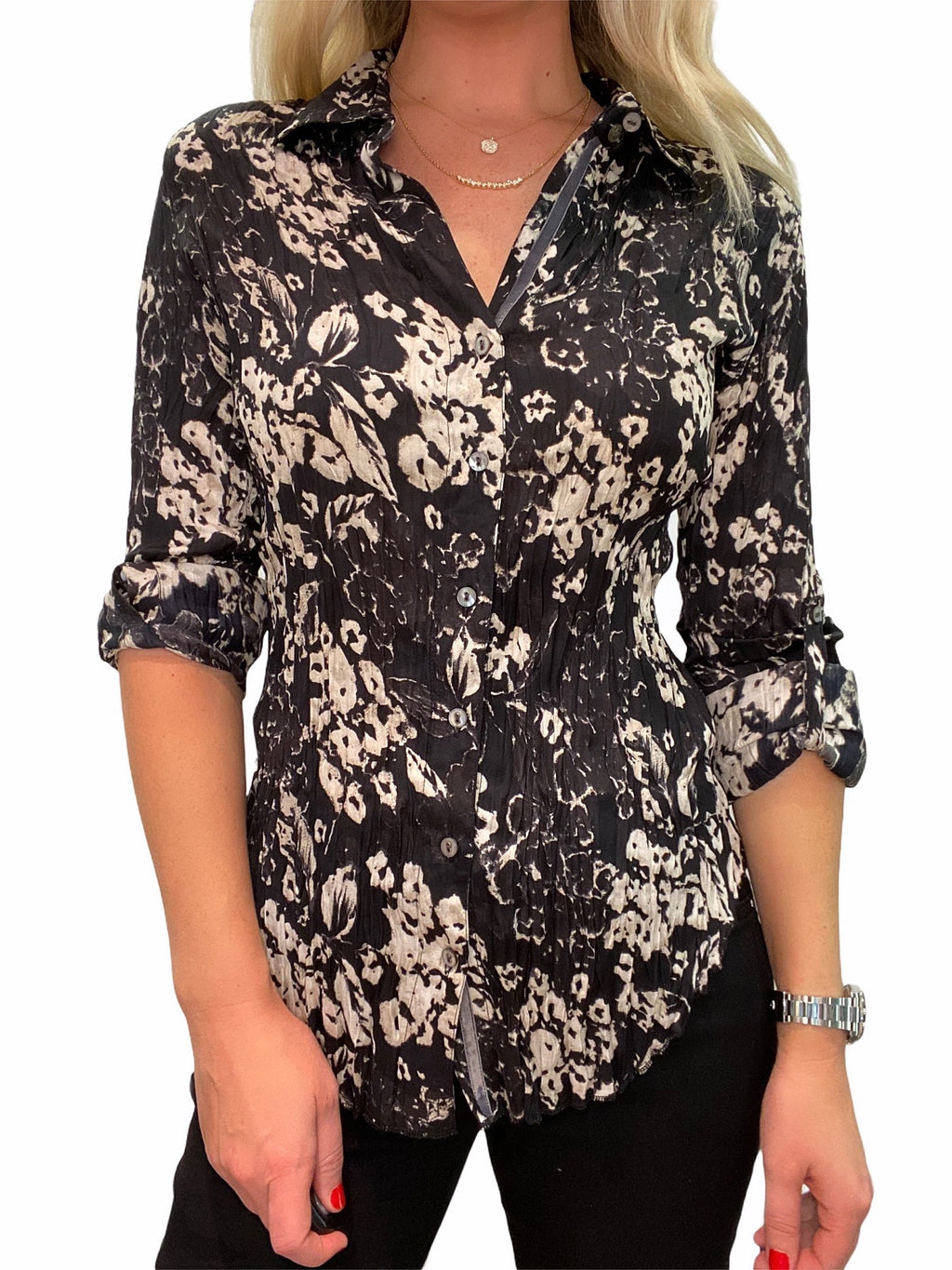Blur Floral Smoke Button Down Shirt