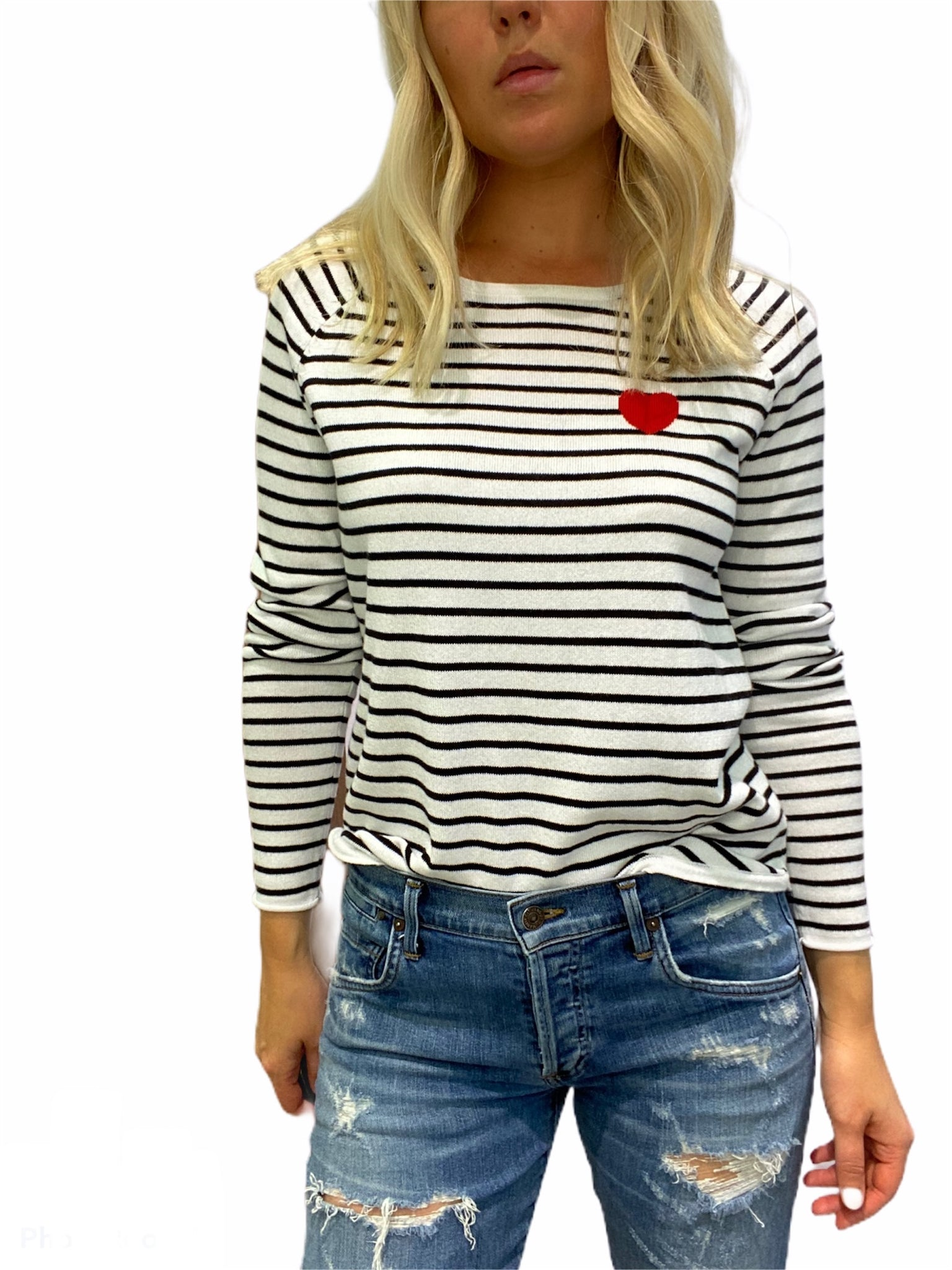 Stripe T-Shirt with Red Heart