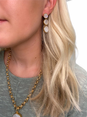 Moonstone Three Drop Earring in Gold