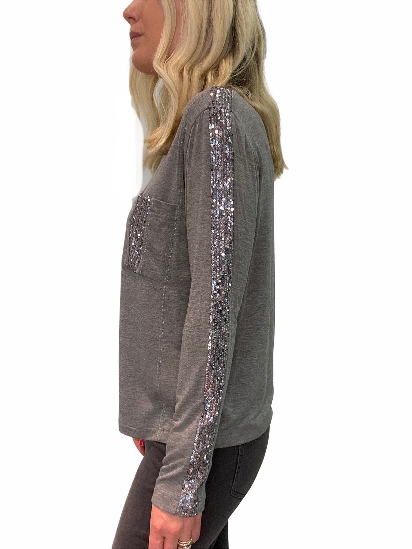 Sequin Long Sleeve Top with Pocket