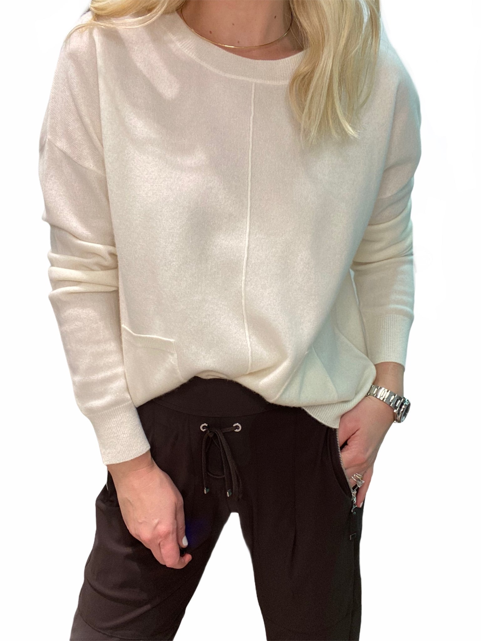 Cream Cashmere Boxy Cropped Sweater