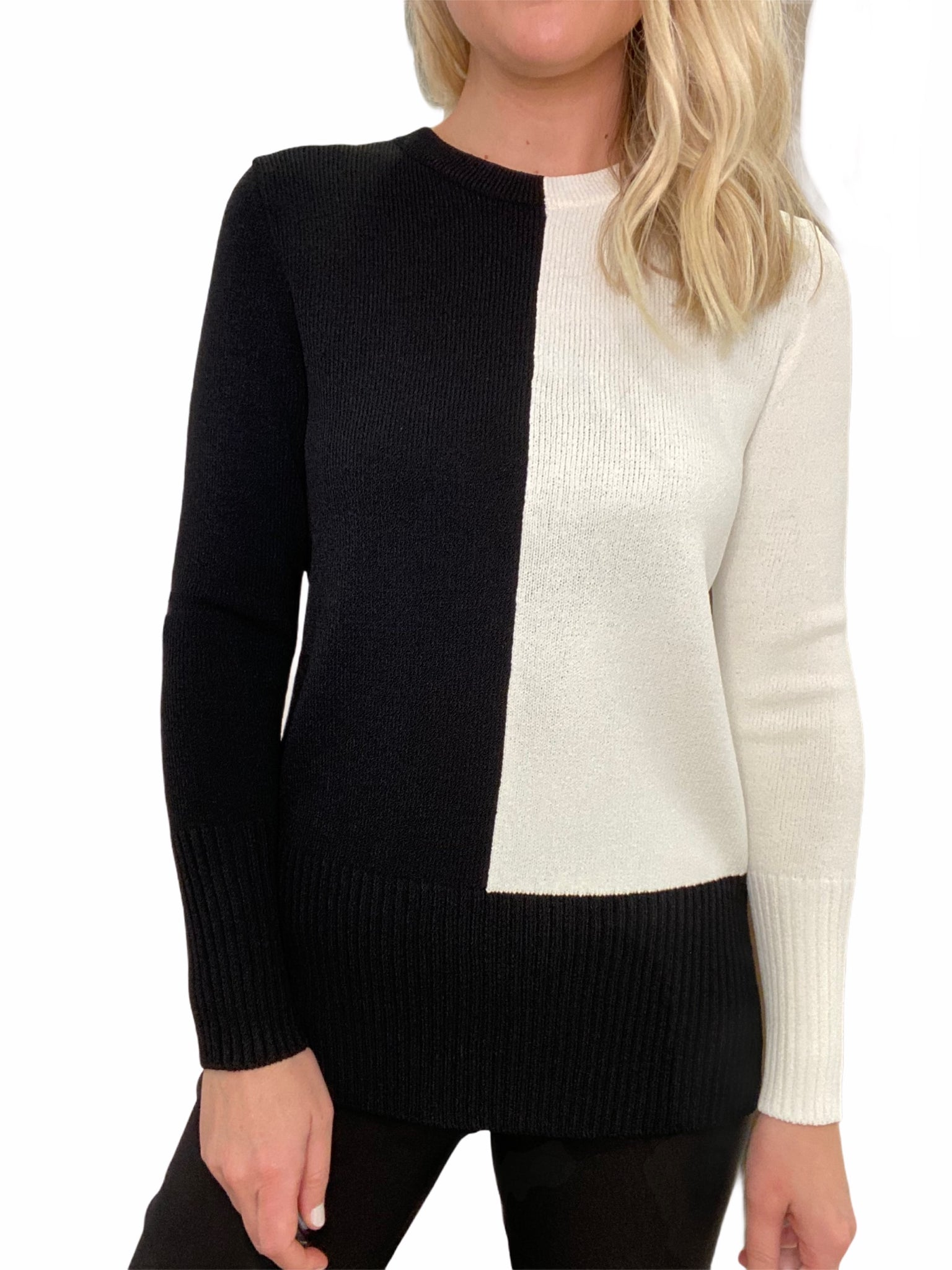 Hand-Loomed Color Block Sweater