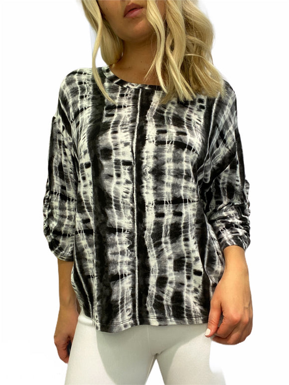 Joia Design Black and White Tie-Dye T-Shirt