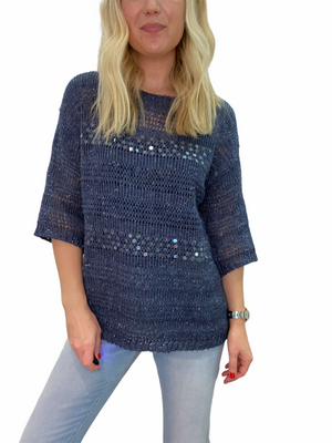 Denim Sweater with Sequins