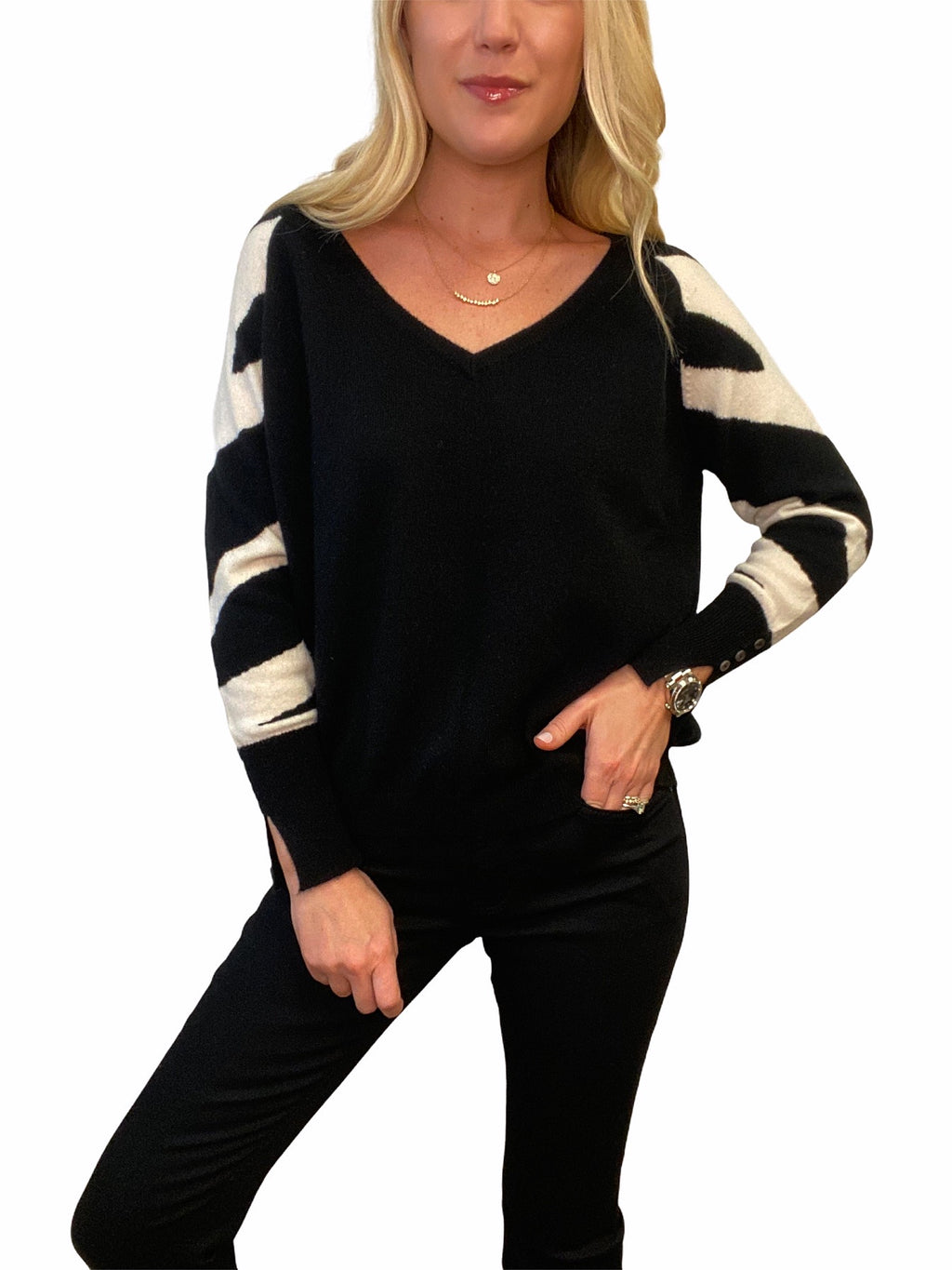 Zebra V-Neck Cashmere Sweater