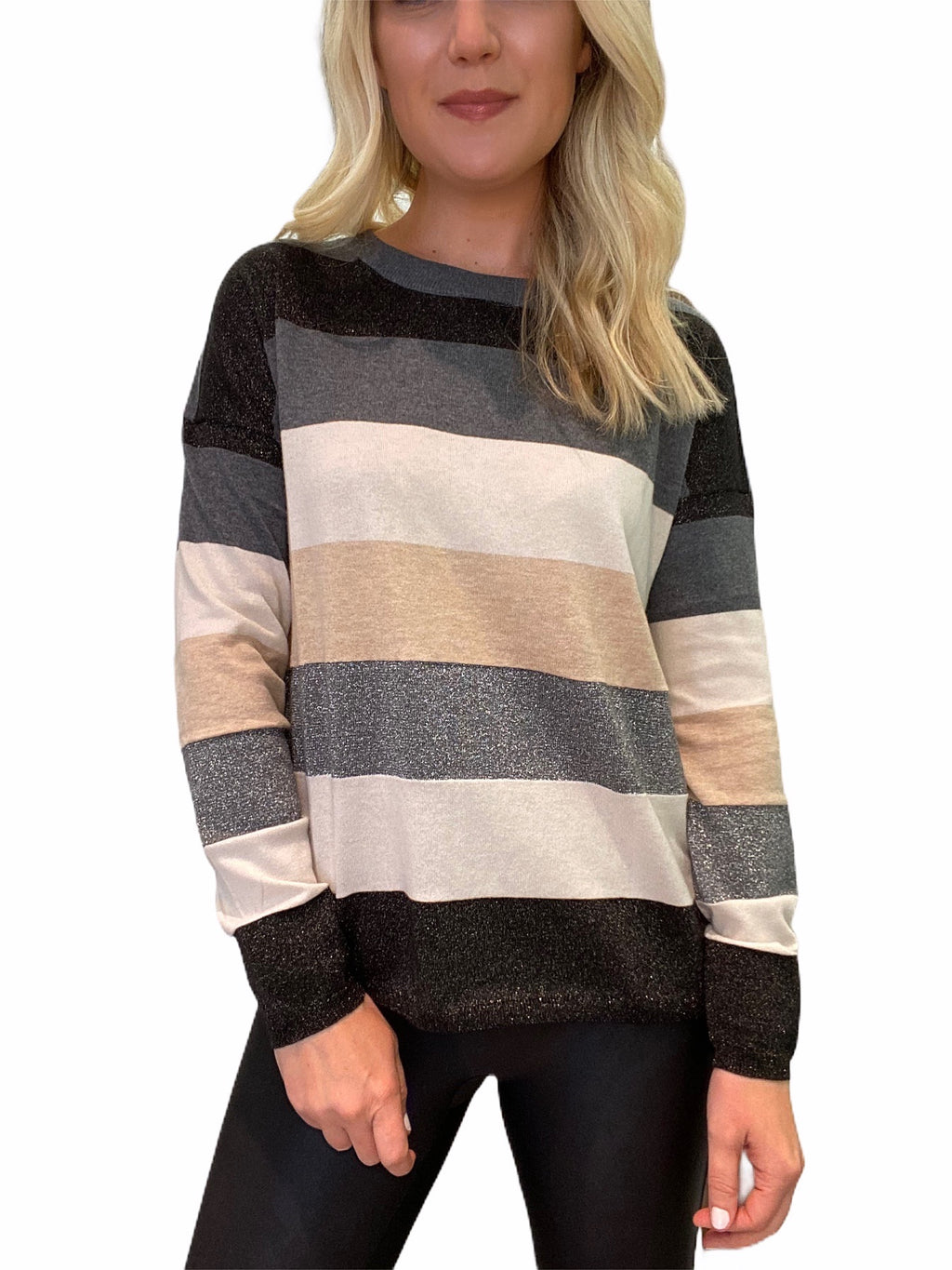 Sweater with Grey Metallic Stripes