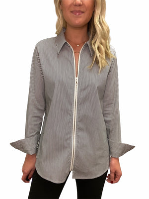 Stripe Zip Front Shirt