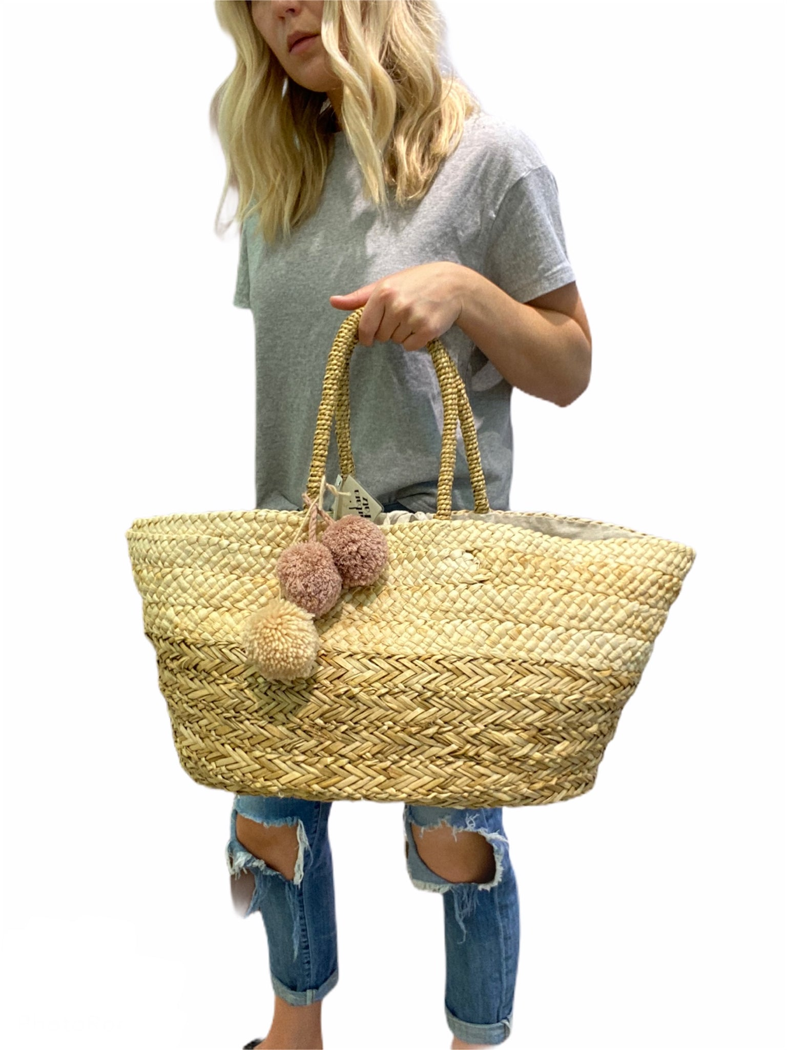 Large Straw Tote Beach Bag