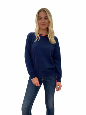 Navy Blue Sweater with Neon Trim